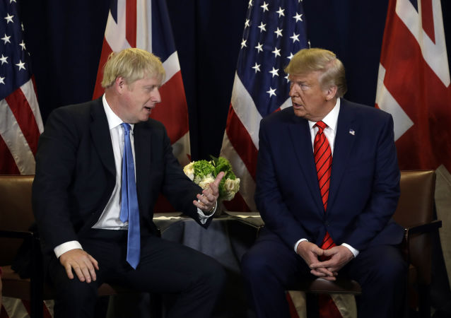 President Donald Trump meets with British Prime Minister Boris Johnson