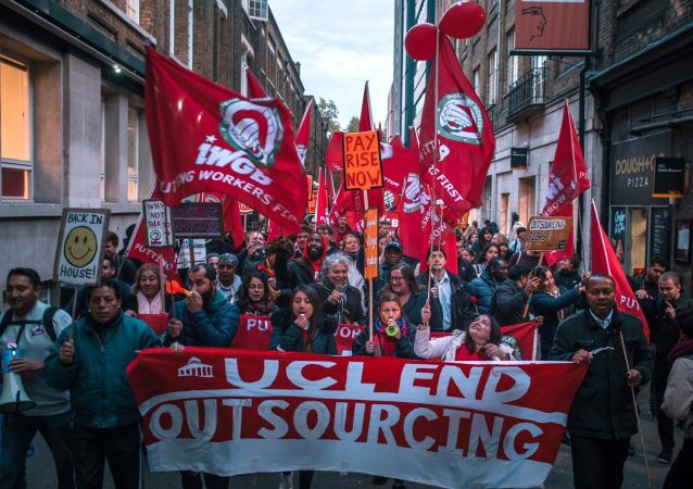 UCL workers demonstrating to end outsourcing on 29 Oct 2019