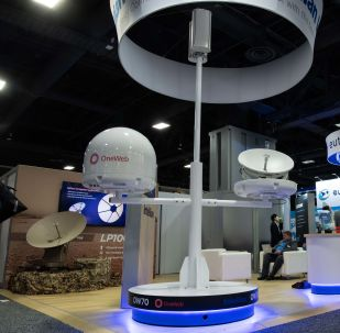 A ground antenna made by Intellian for the OneWeb space internet provider is seen at Satellite2019 in Washington, DC, on May 8, 2019.