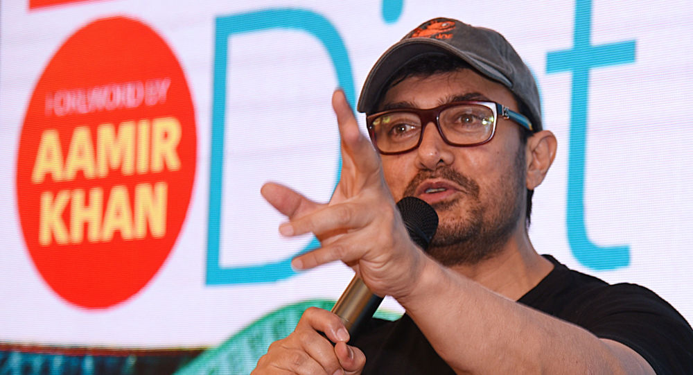 Indian Bollywood actor Aamir Khan speaks during the launch of a book about weight loss in Mumbai on March 27, 2019.