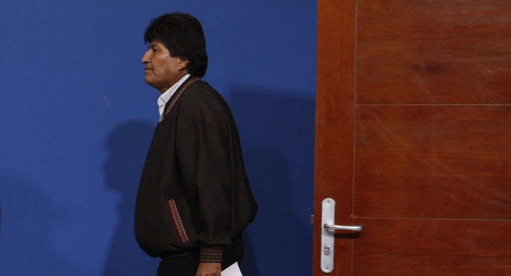 Bolivia's President Evo Morales arrives a press conference at the military airport in El Alto, Bolivia, Sunday, Nov. 10, 2019