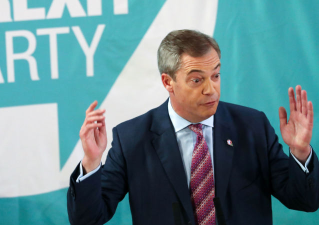 Brexit Party leader Nigel Farage speaks during a general election campaign event in Hartlepool, Britain, November 11, 2019