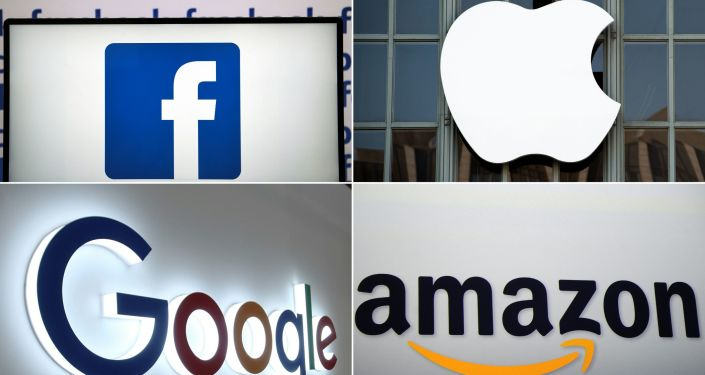 (COMBO) This combination of pictures created on July 10, 2019 shows a Facebook logo on July 4, 2019 in Nantes, an Apple logo in San Francisco on September 7, 2016, a Google logo in China's Chongqing on August 23, 2018, and an Amazon logo in New York on September 28, 2011