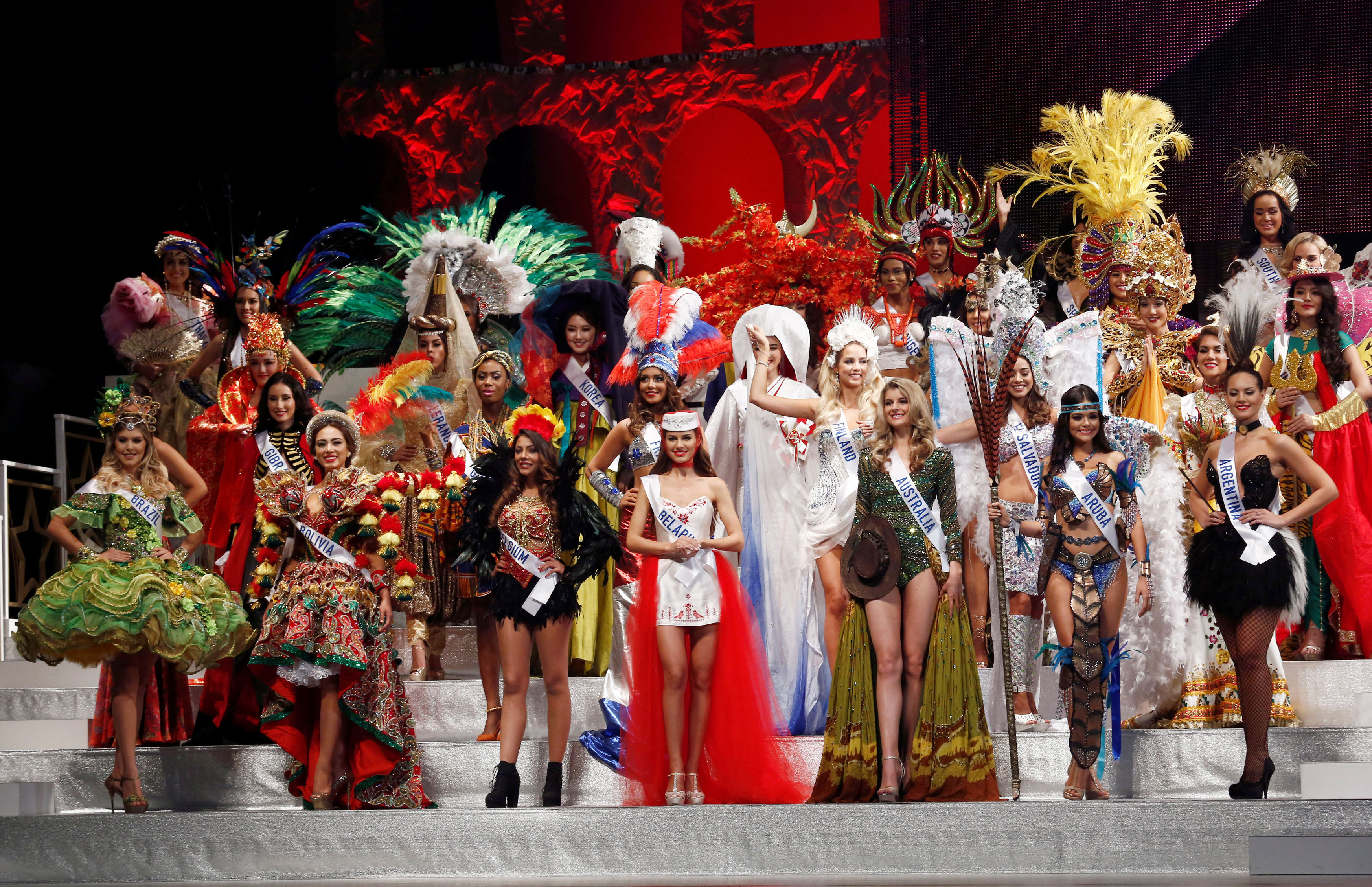 Contestants wearing national costumes pose in the opening of the 56th Miss International Beauty Pageant in Tokyo, Japan October 27, 2016.