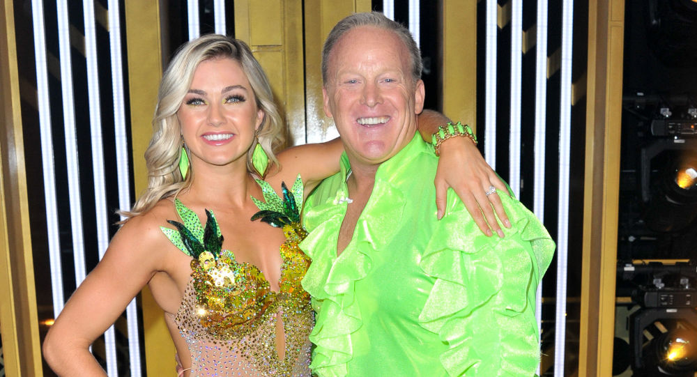 Lindsay Arnold and Sean Spicer attend the Dancing With The Stars Season 28 show at CBS Television City on 16 September 2019 in Los Angeles, California