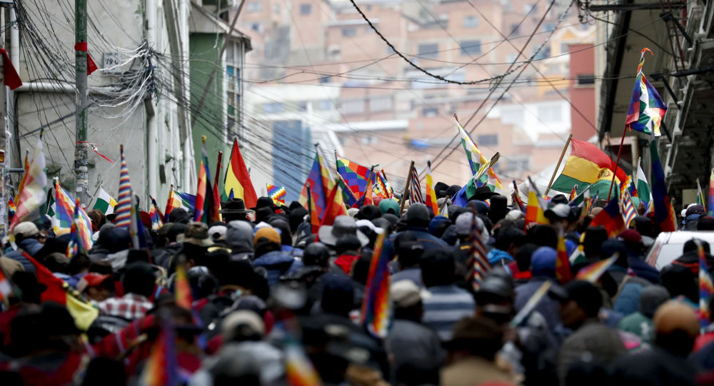 Supporters of former President Evo Morales in La Paz