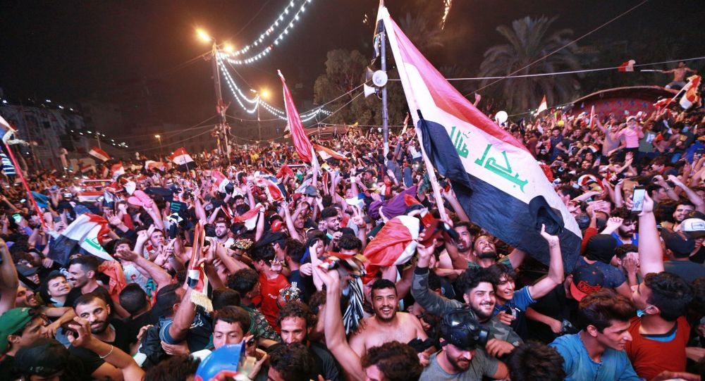 Anti-government protesters in Tahrir Square in Baghdad