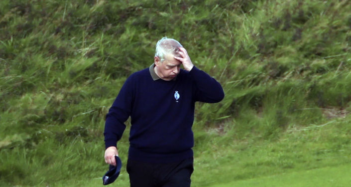 Britain's Prince Andrew attends the Duke of York Young Champions Trophy at the Royal Portrush Golf Club in County Antrim, Northern Ireland, Monday, Sept. 9, 2019.