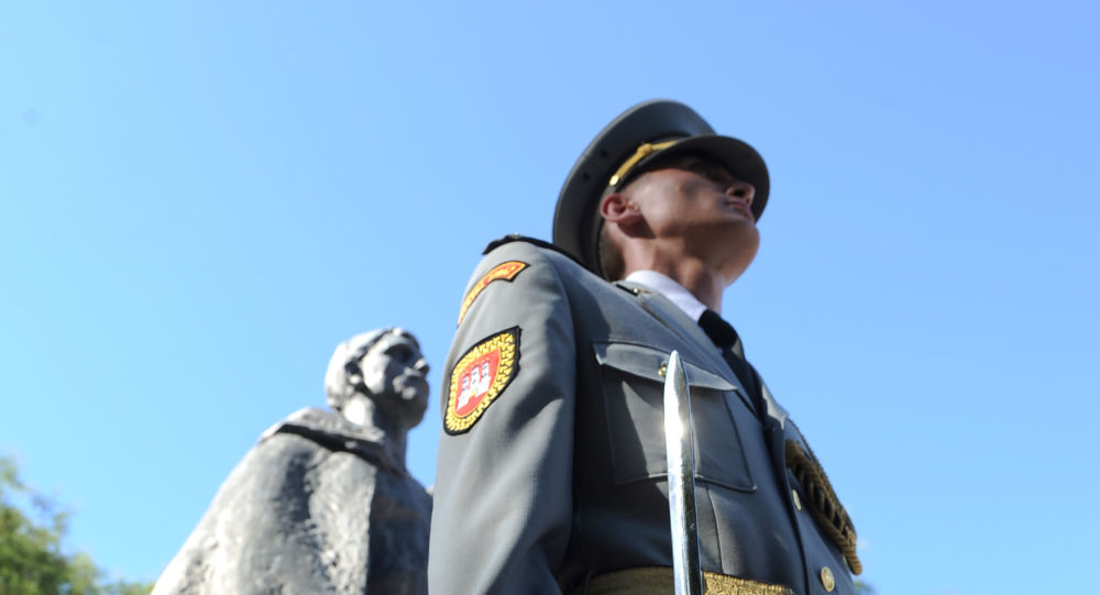 A member of the Slovak honour guard attends a memorial service at Bratislava's 'Slovenske Narodne Povstanie', the Slovak National Uprising memorial and square, on 28 August 2012, during ceremonies commemorating the 68th anniversary of the Slovak National Uprising during World War II. The Slovak National Uprising, also known as the 1944 Uprising, was an armed insurrection organised by the Slovak resistance movement during World War II. It was launched on August 29, 1944 from Bansk - Bystrica in an attempt to overthrow the collaborationist Slovak State of Jozef Tiso.