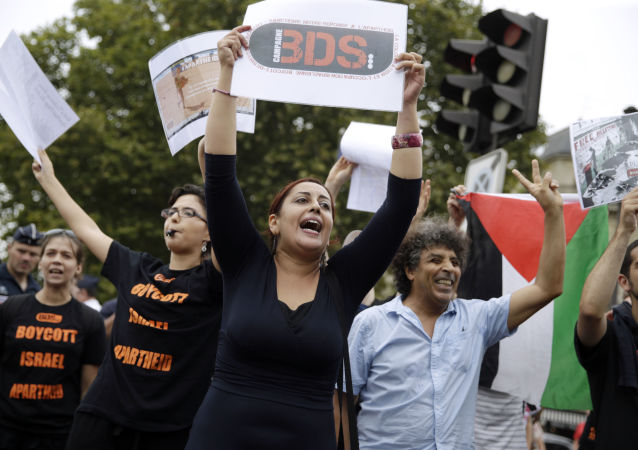 A Pro-Palestinian Gaza Beach protestor holds a placard reading BDS (Boycotts, divestment and sanctions) during a gathering on the sidelines of Tel Aviv Sur Seine (File)
