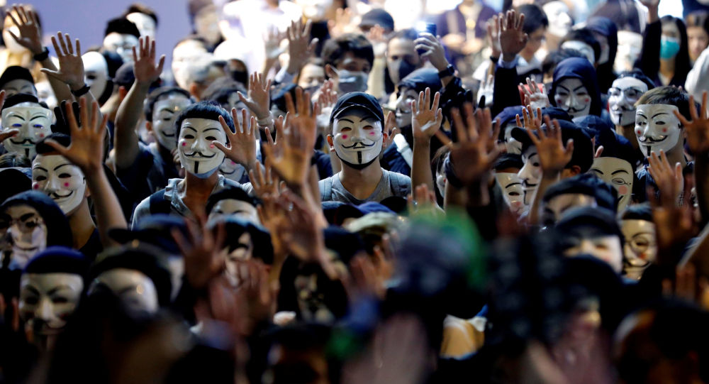 Protesters wearing Guy Fawkes masks attend an anti-government demonstration in Hong Kong, China, November 5, 2019