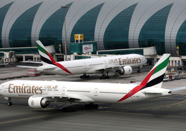 Emirates Airline Boeing 777-300ER planes are seen at Dubai International Airport in Dubai, United Arab Emirates February 15, 2019