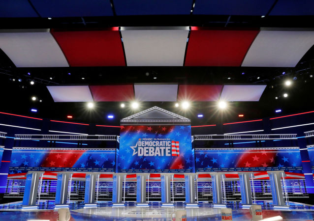 The set and ten podiums for the next U.S. Democratic presidential candidates' debate are seen the day before the debate at the Tyler Perry Studios in Atlanta, Georgia, U.S. November 19, 2019.