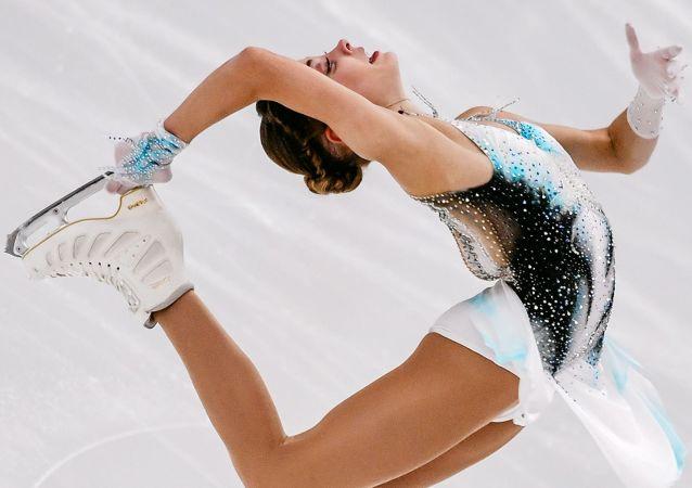 Alena Kostornaia performing during Ladies short Programme in Finlandia trophy 2019