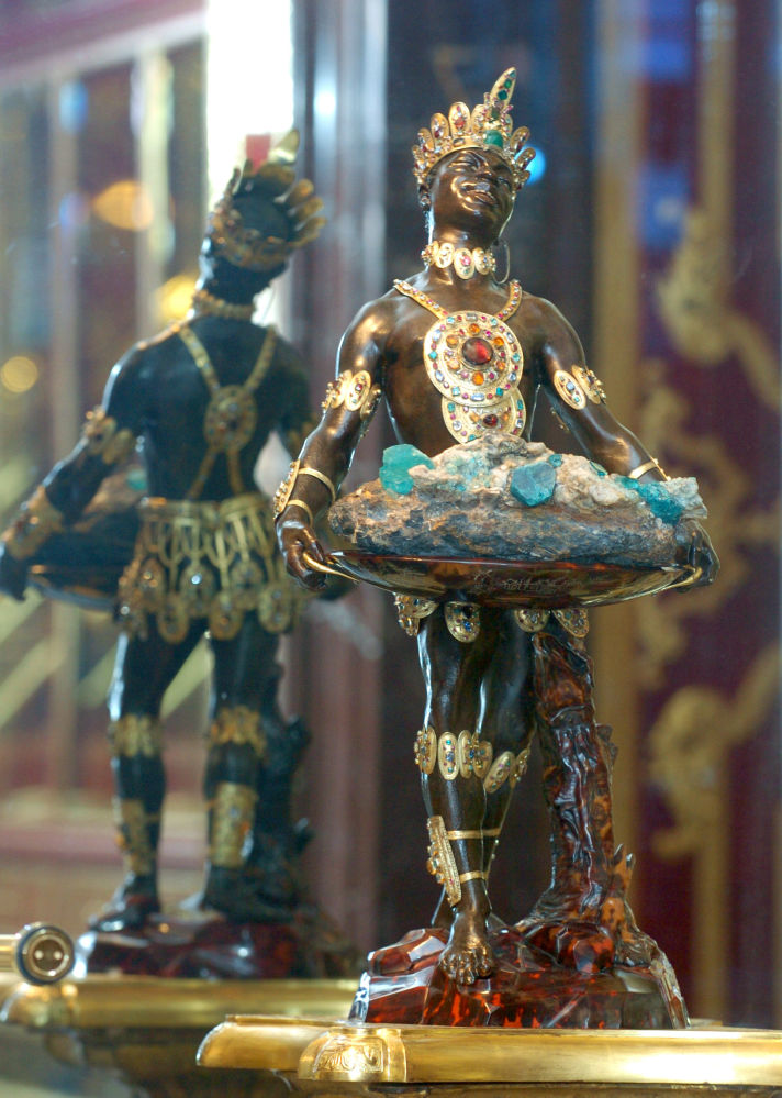 'Moor with emerald cluster' figurine displayed at the Green Vault.