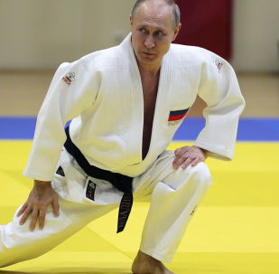 President of the Russian Federation Vladimir Putin during training on a tatami