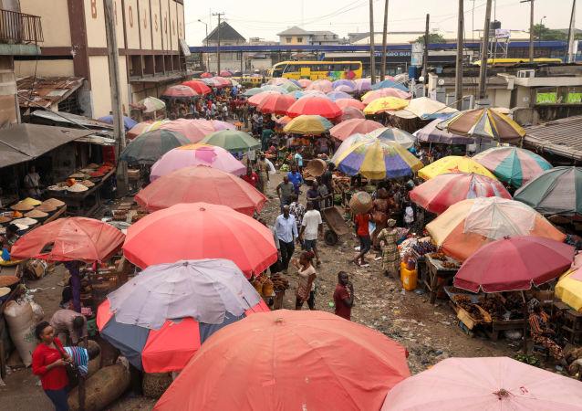 A market in central Lagos, Nigeria November 13, 2019