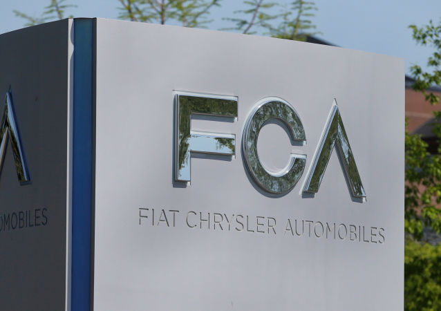 A Fiat Chrysler Automobiles (FCA) sign in Auburn Hills, Michigan