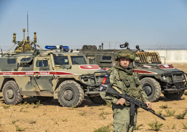 Russian military police near the town of Darbasiyah in Syria's northeastern Hasakeh province