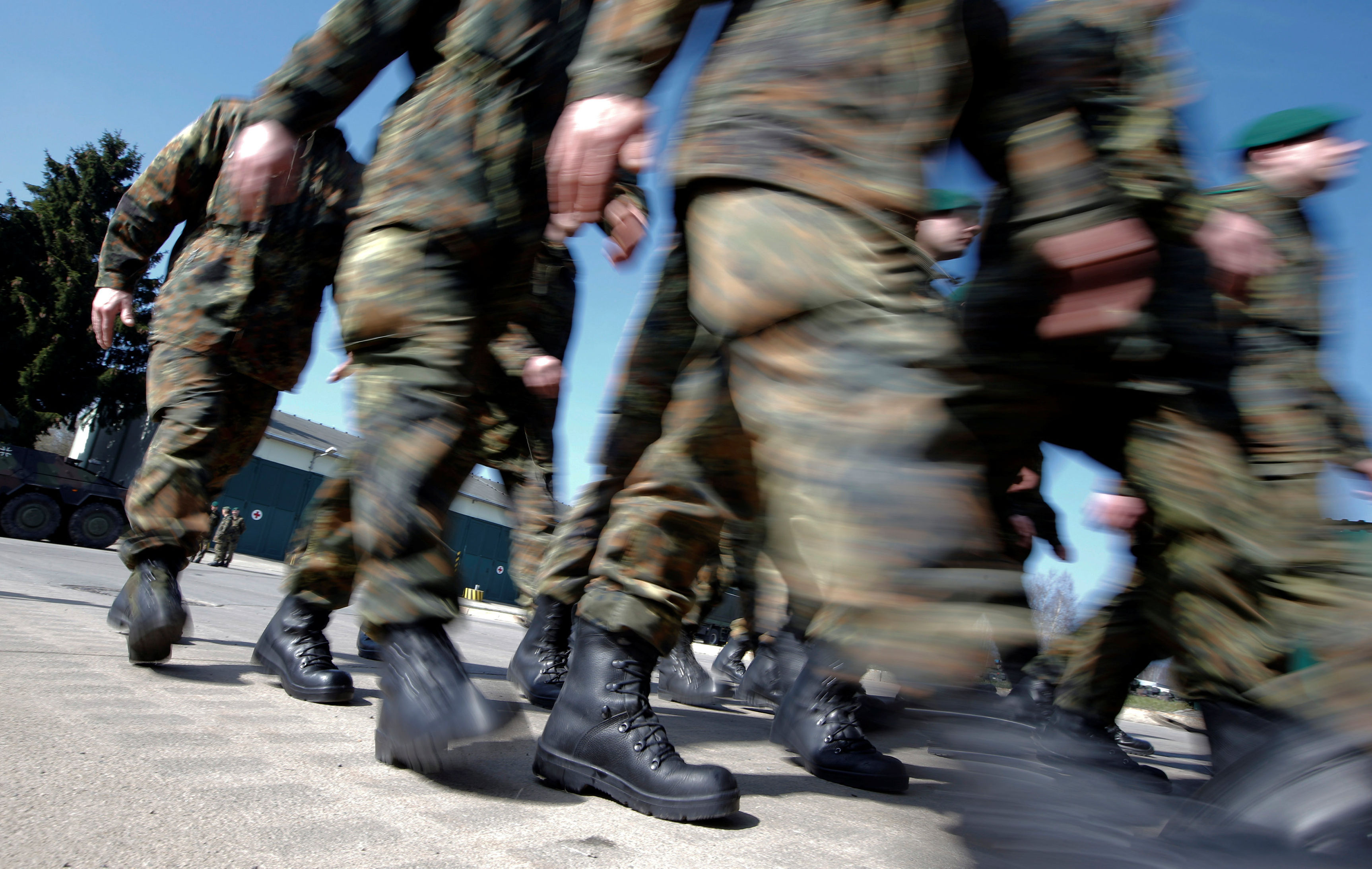 German Bundeswehr armed forces soldiers of the 371st armoured infantry battalion march during a media day of the NATO drill 'NOBLE JUMP 2015' at the barracks in Marienberg April 10, 2015