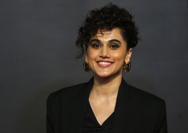 Bollywood actress Taapsee Pannu poses during the opening ceremony of the 21st MAMI Mumbai film festival in Mumbai, India, Thursday, Oct. 17, 2019