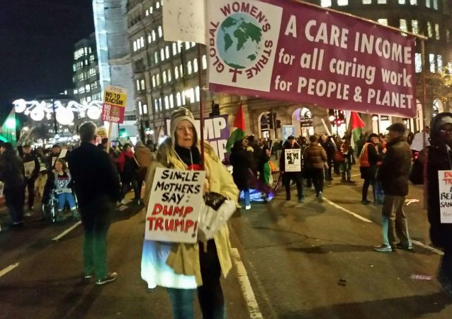 Women from Global Women's Strike at Anti-NATO Protest in London