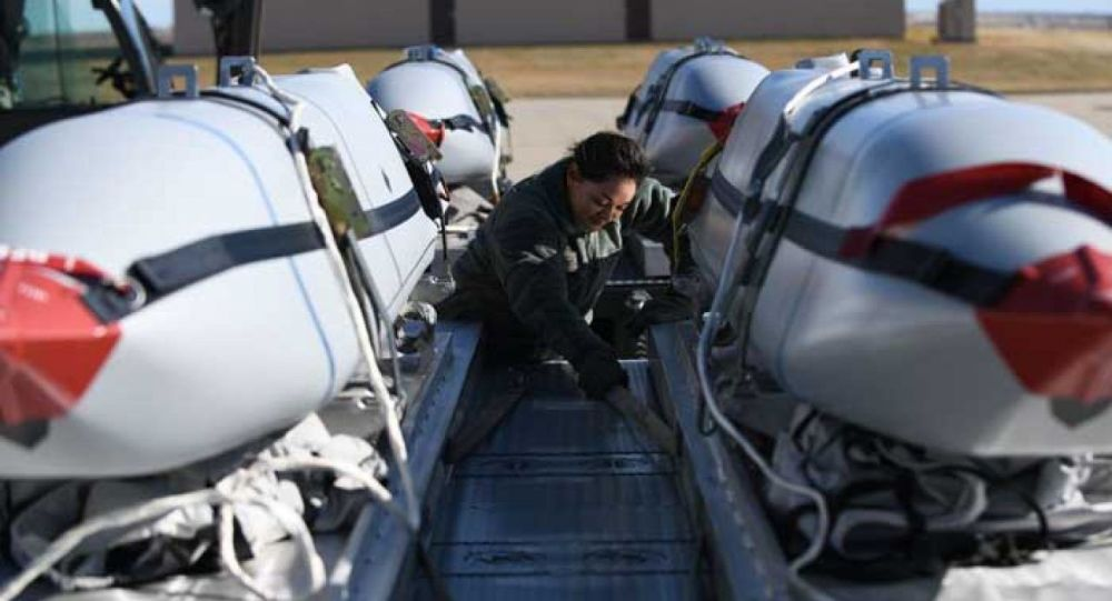 JASSM air to surface cruise missiles on the flight line at Ellsworth Air Force Base