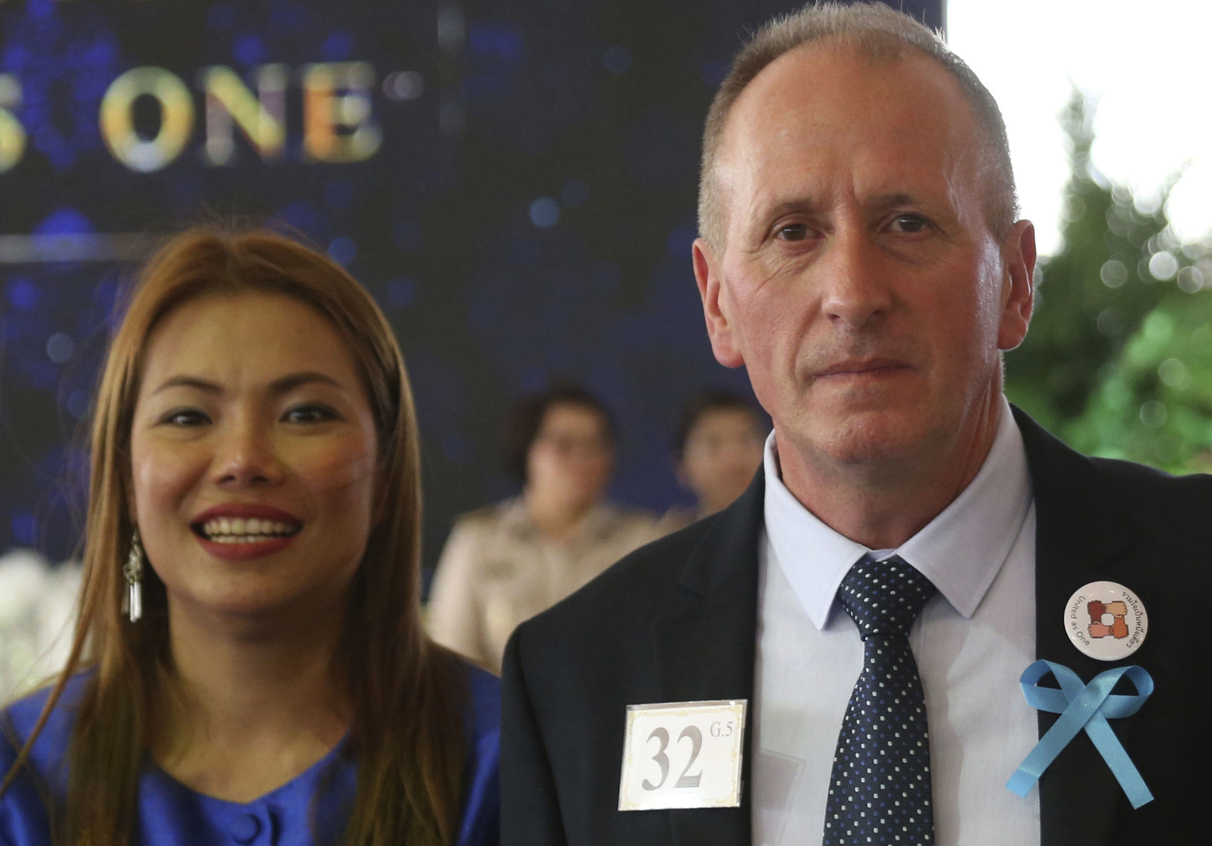 British cave diver Vernon Unsworth and his wife Woranan in Bangkok in 2018. Unsworth is suing Elon Musk