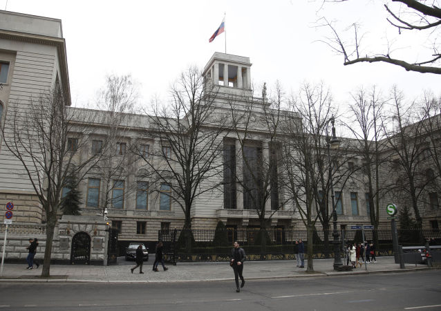 The Russian flag flies at the Russian embassy in Berlin on March 26, 2018.
