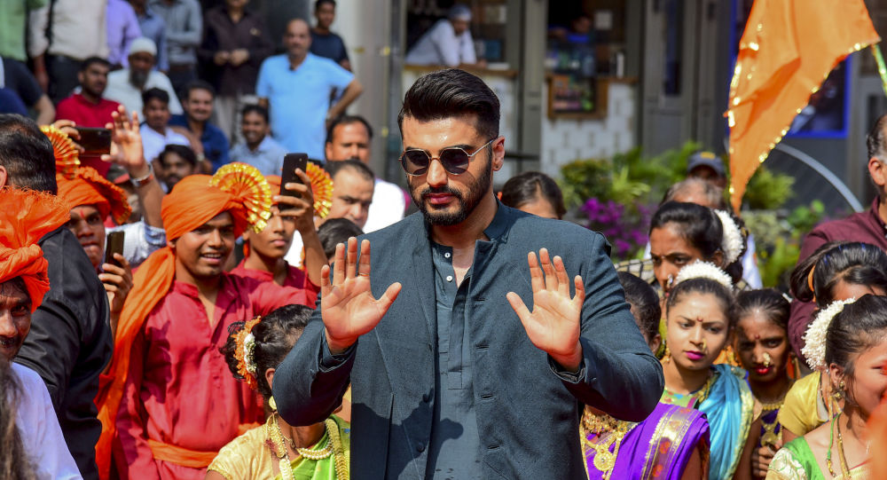 Bollywood actor Arjun Kapoor gestures as he attends the song launch of his upcoming Hindi film 'Panipat' directed by Ashutosh Gowariker, in Mumbai on 23 November 2019.