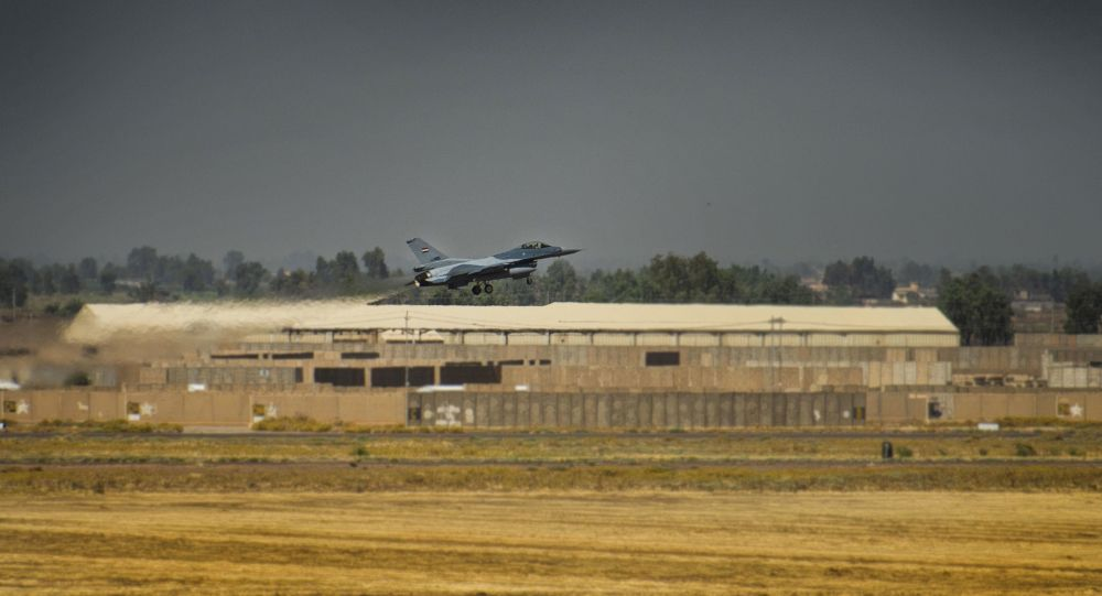 An Iraqi F-16 Fighting Falcon fighter aircraft, assigned to the 9th Fighter Squadron, takes off prior to performing a Close Air Support Mission during Air Week at Balad Air Base, Iraq, June 17, 2019. The 9th FS conducted numerous CAS sorties that were controlled by Special Mission Controllers on the ground in support of Air Week.