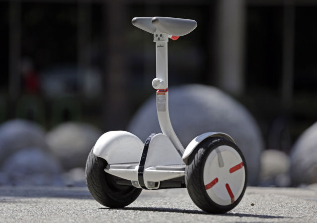 New self-balancing scooter in downtown Los Angeles