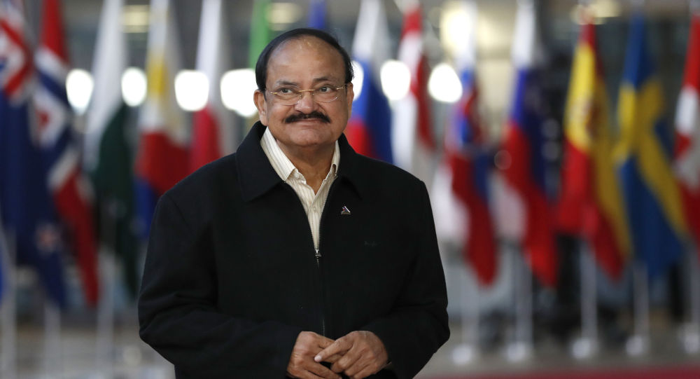 India's Vice-President M. Venkaiah Naidu arrives for the ASEM 12 in Brussels, Thursday, Oct. 18, 2018