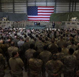US President Donald Trump speaks to the troops at Bagram Air Field in Afghanistan