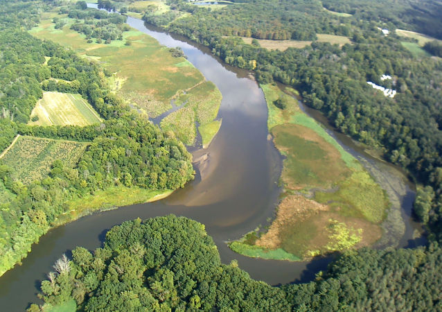 An aerial view of the Kalamazoo River  from the Trowbridge Dam near Allegan in southwestern Michigan