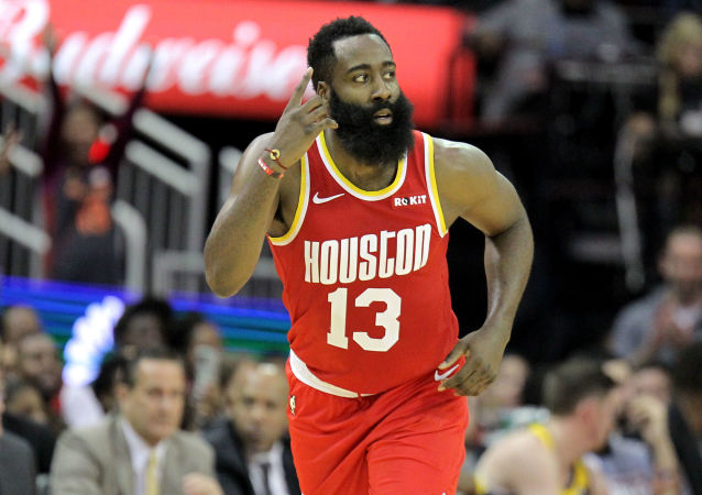 Nov 15, 2019; Houston, TX, USA; Houston Rockets guard James Harden (13) reacts after a made three-point basket against the Indiana Pacers during the fourth quarter at Toyota Center