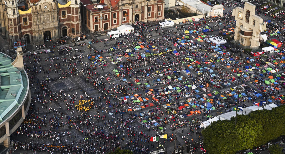 Pilgrims gathering outside the Basilica of Guadalupe in Mexico City