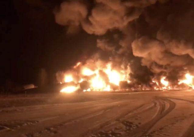 A derailed Canadian Pacific Railway train near Guernsey, Saskatchewan