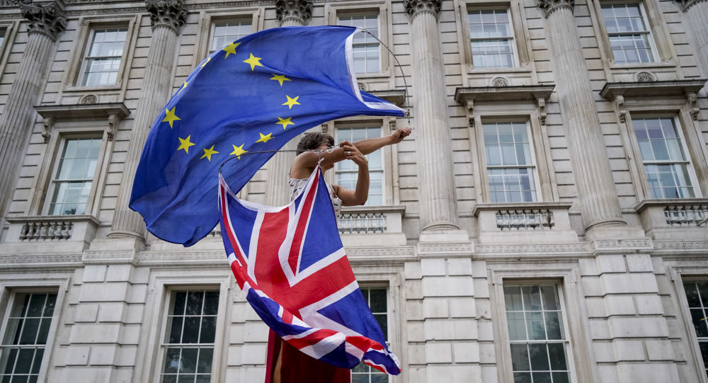 An anti-Brexit demonstrator whirls an EU and Union Flag during a demonstration against the British government's move to suspend parliament in the final weeks before Brexit outside Downing Street in London on August 31, 2019.