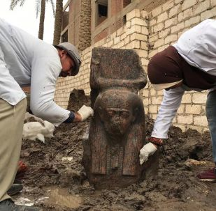 A rare pink statue of Ancient Egypt's King Ramses II