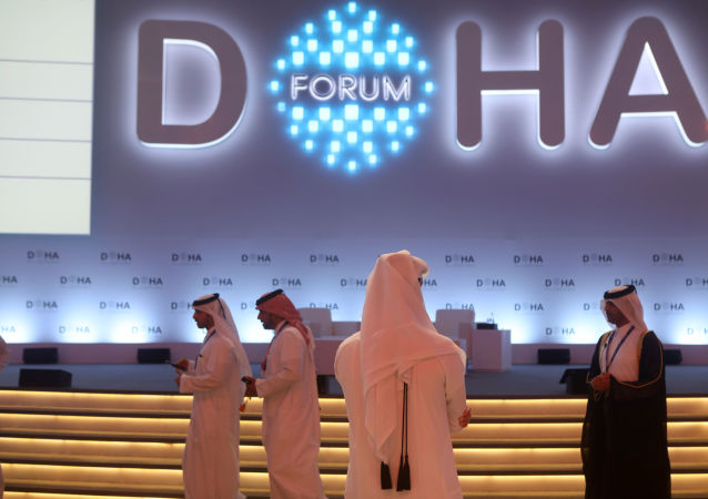 The opening ceremony of the Doha Forum 2019 at the Sheraton Grand Doha Resort & Convention Hotel in Doha
