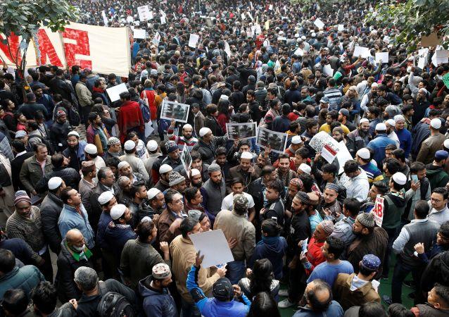 Protesters in New Delhi, India