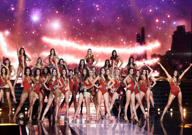 Contestants perform on stage during the Miss France 2020 beauty contest in Marseille, on December 14, 2019