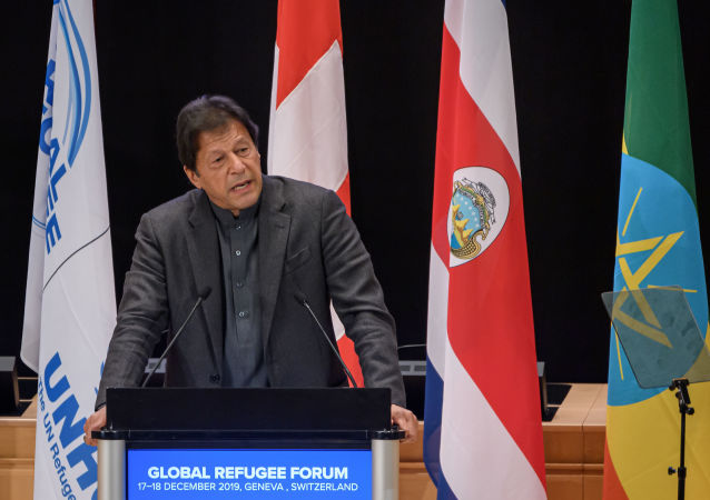 Pakistan's Prime Minister Imran Khan delivers a speech during the opening of the Global Refugee Forum, on December 17, 2019 in Geneva