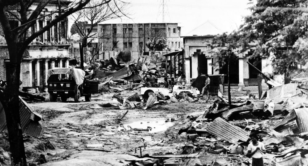 Picture taken on July 24, 1971 of the destroyed streets of Madhabpur during the Indo-Pakistani War of 1971