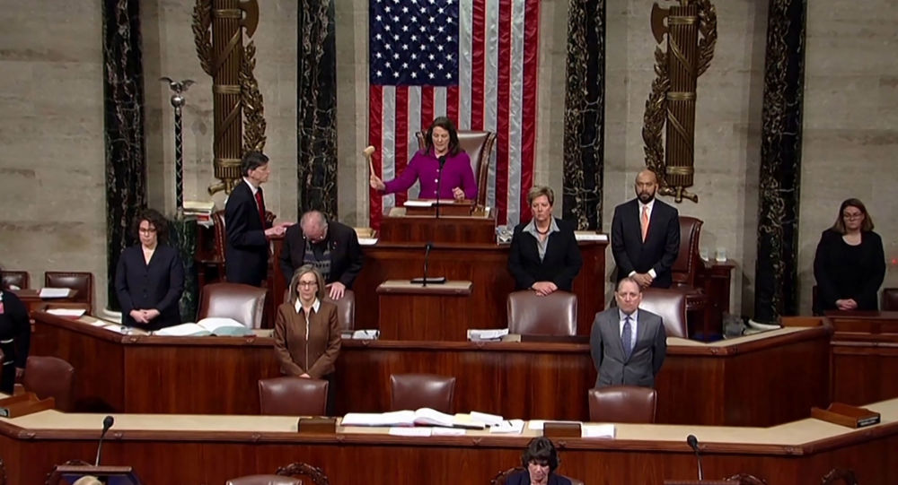 Rep. Diana Degette, member presiding over the U.S. House of Representatives, pounds the gavel to open the session to discuss rules ahead a vote on two articles of impeachment against U.S. President Donald Trump on Capitol Hill in Washington, U.S., in a still image from video December 18, 2019.   House TV via REUTERS.  THIS IMAGE HAS BEEN SUPPLIED BY A THIRD PARTY.