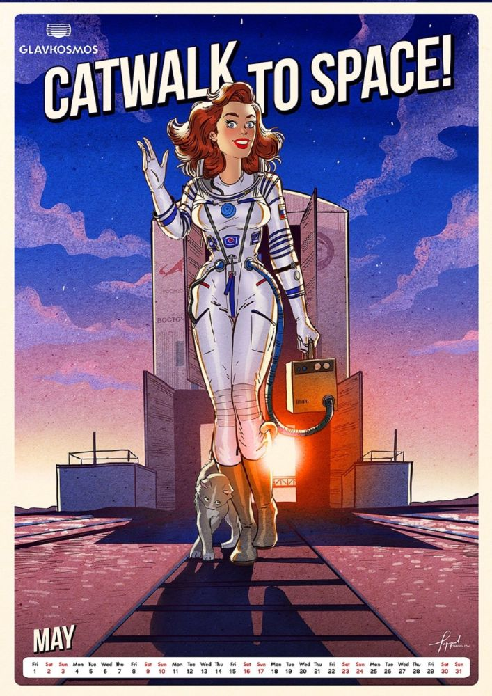 A pin-up calendar 'Let's go to space' by Roscosmos
