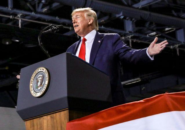 U.S. President Donald Trump speaks during a campaign rally in Battle Creek, Michigan, U.S., December 18, 2019