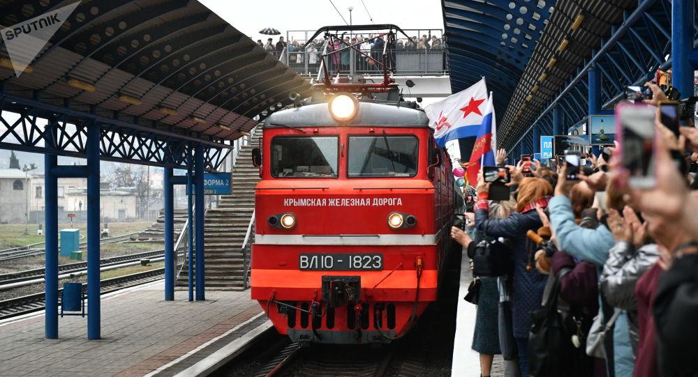 Arrival of Tavria passenger train in Crimea