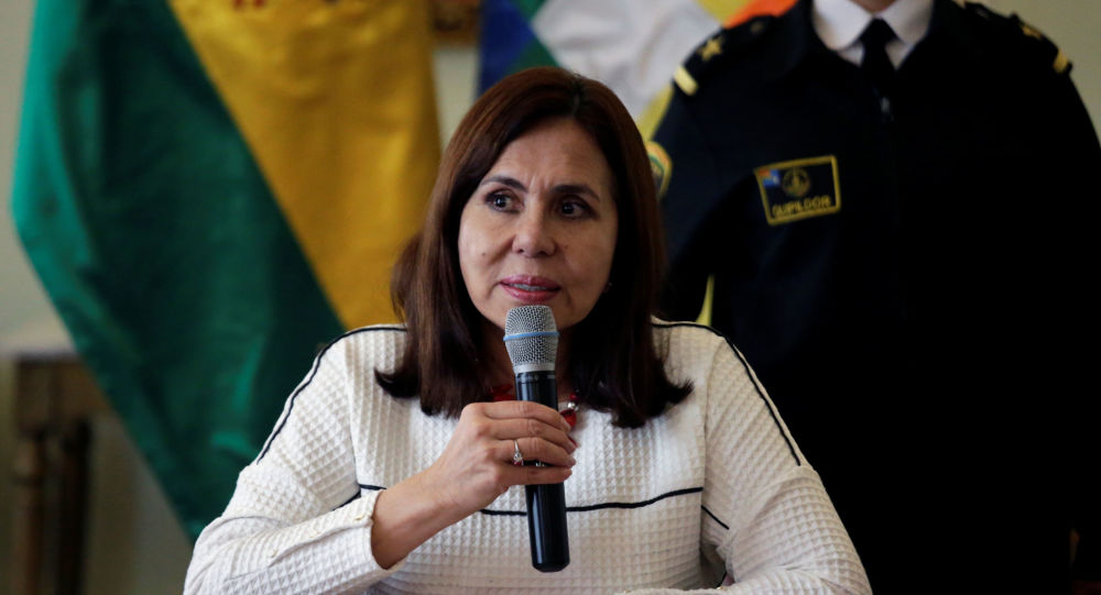 Bolivia's Head of the Foreign Ministry Karen Longaric speaks during a news conference in La Paz, Bolivia December 26, 2019. REUTERS/David Mercado